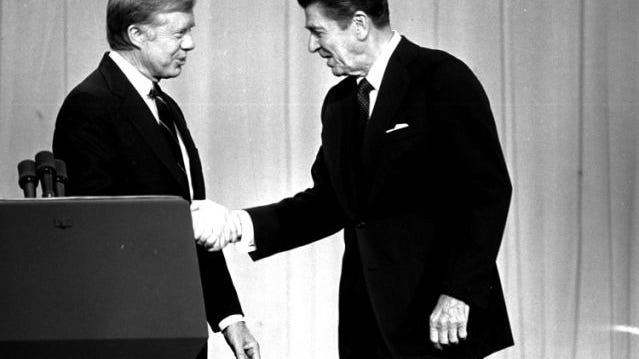 """""""Ask yourself, 'Are you better off now than you were four years ago?'"""": Reagan asked this question to voters about Carter's administration during his debate with the 39th president. Variations of that quote have been used by other presidential candidates since, with a recording of Reagan's comments even being used against President Donald Trump by Democratic groups this year."""