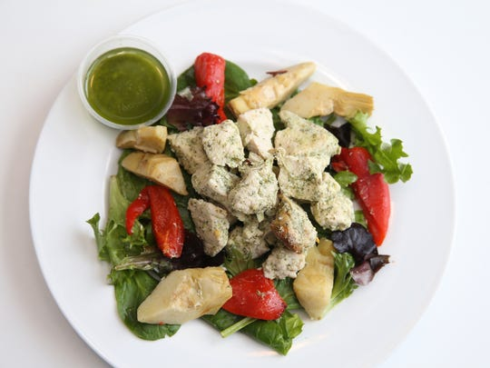 Pesto chicken from Effortlessly Healthy meal service.