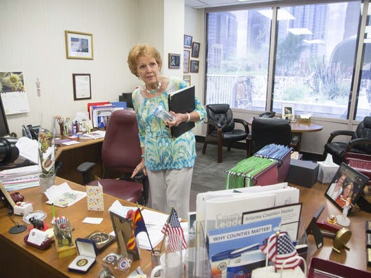County Recorder Helen Purcell talks to The Republic