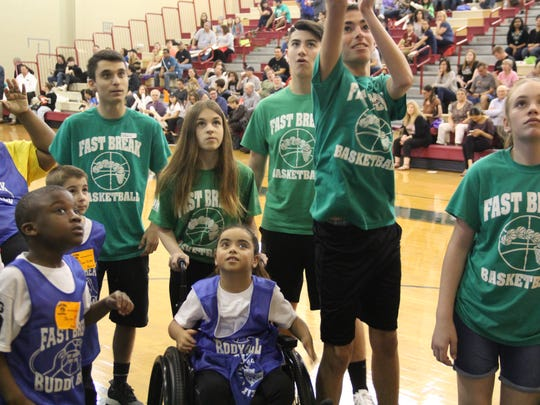 With a crowd of more 350 people cheering at Churchill Junior High School in East Brunswick, Fast Break Buddy Ball celebrated its 10th annual Big Game on Saturday.