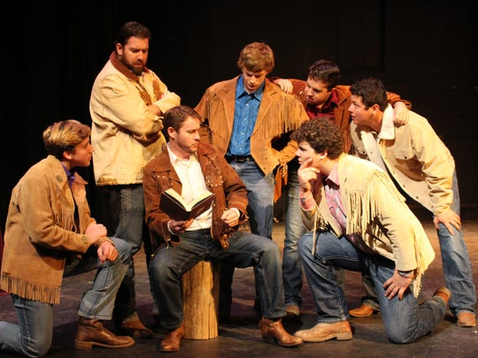 "Eldest Pontipee brother Adam gives his younger brothers an idea about how they might be able to secure their own wives in ""Seven Brides for Seven Brothers."""