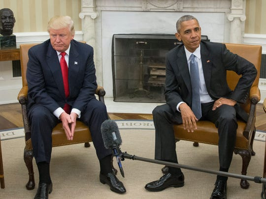 epa05831775 (FILE) - A file picture dated 10 November 2017 shows then US President Barack Obama (R) and President-elect Donald Trump (L) meet in the Oval Office of the White House in Washington, DC, USA. US President Trump on 05 March 2017 demanded from Congress to investigate an alleged wire-tapping of Trump's offices by Obama during his election campaign. Obama's spokesman has dismissed Trump's claims as 'simply false' and Trump not offered any evidence for his claims.  EPA/MICHAEL REYNOLDS *** Local Caption *** 53148417 ORG XMIT: MHR04