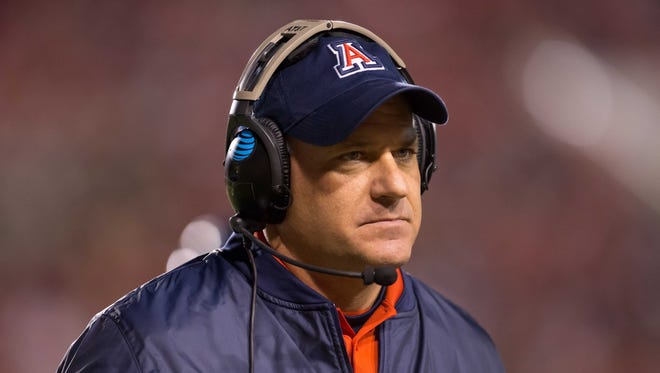 Arizona Wildcats head coach Rich Rodriguez during the first half against the Utah Utes at Rice-Eccles Stadium.