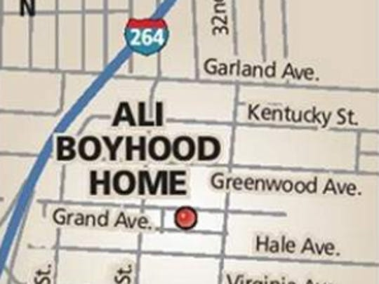 Ali's boyhood home map.