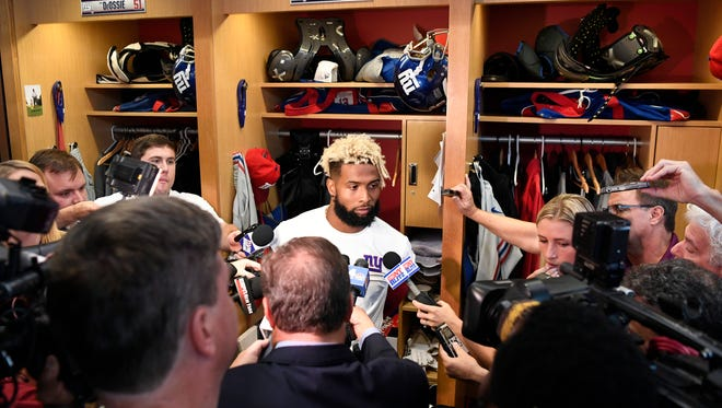 New York Giants wide receiver Odell Beckham Jr. answers questions from the media on his touchdown celebration against the Eagles in the locker room after practice on Wednesday, September 27, 2017.