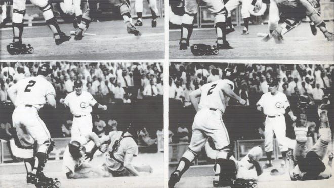 Here's the final play of the 1970 All-Star Game in Cincinnati that gave the National League a 5-4 win. Left top, Pete Rose starts for the plate as catcher Ray Fosse waits for the throw; top right, Rose slams into Fosse as he scores as third base coach Leo Durocher, rear, and Dick Dietz (2) watch. Bottom left, Rose slides across home plate; at right, both players take a tumble.