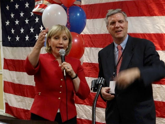 Lt Governor Kim Guadagno gives a victory speech after