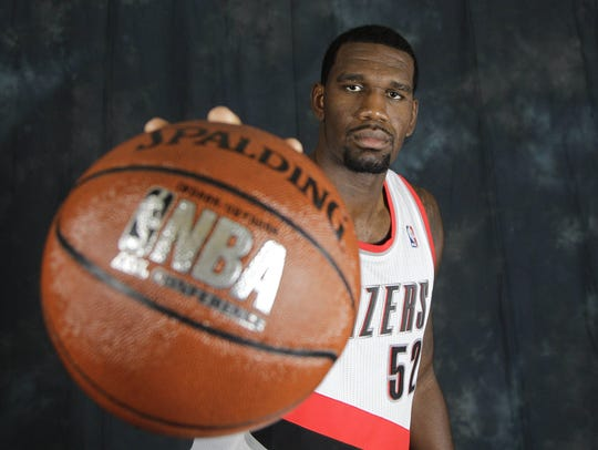 Portland Trail Blazer's Greg Oden poses for a photograph during the NBA basketball media day in 2010.