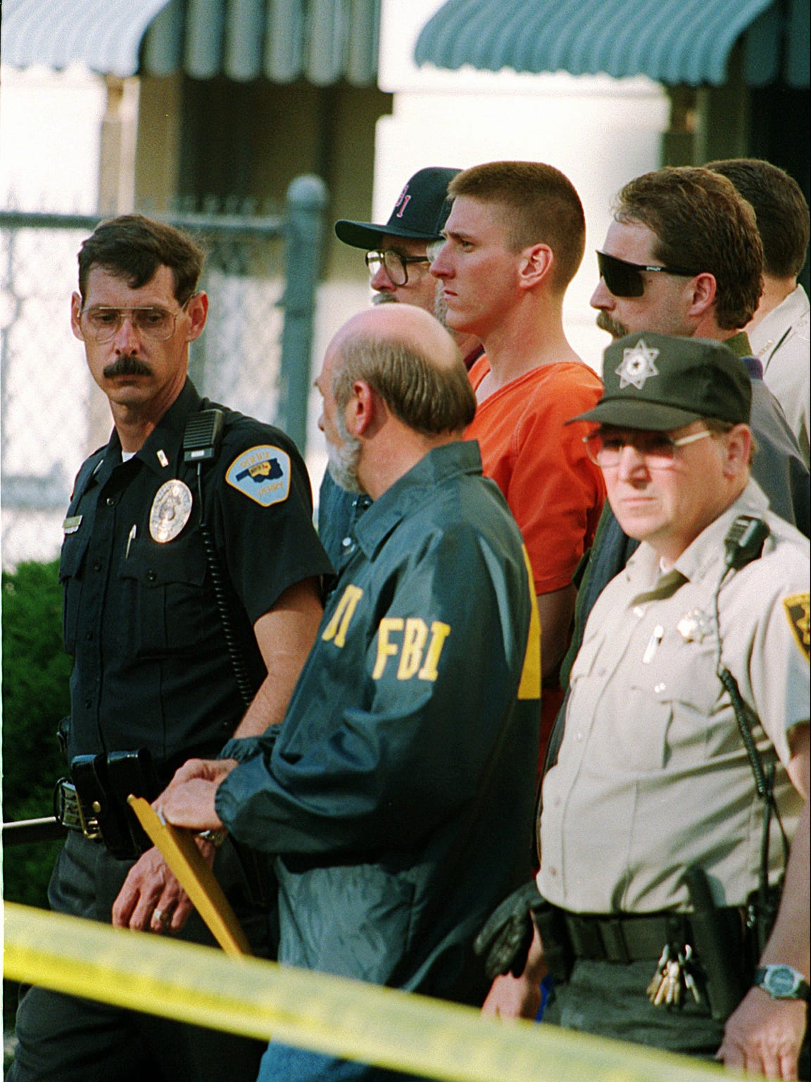 Timothy McVeigh is taken into custody at the courthouse in Perry, Okla., April 23, 1995.