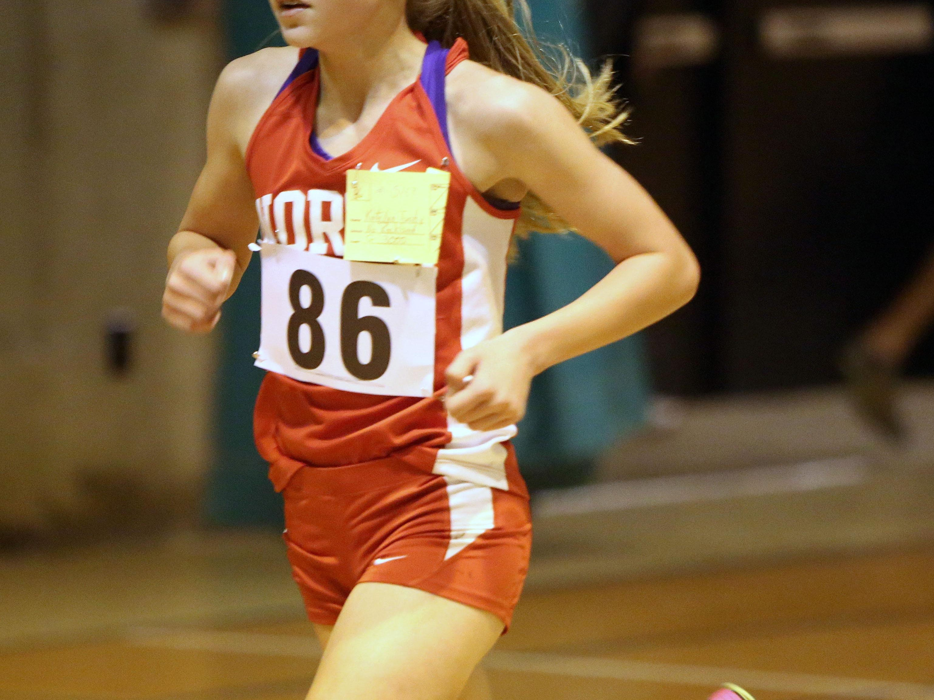 Katelyn Tuohy, an 8th grader from North Rockland, won the girls 3000 invitational during the Rockland Coaches Invitational indoor track meet, Jan. 6, 2016.