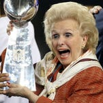 Ann Mara poses with the Vince Lombardi Trophy after the Giants defeated the Patriots in Super Bowl XLII on Feb. 3, 2008, at Glendale, Arizona.