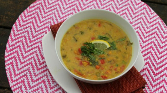 Chickpea and red lentil soup with lime and cumin