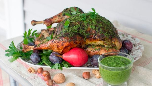 Herb roasted Thanksgiving turkey, inspired by South American chimichurri, a richly herby sauce that pairs beautifully with roasted meats.
