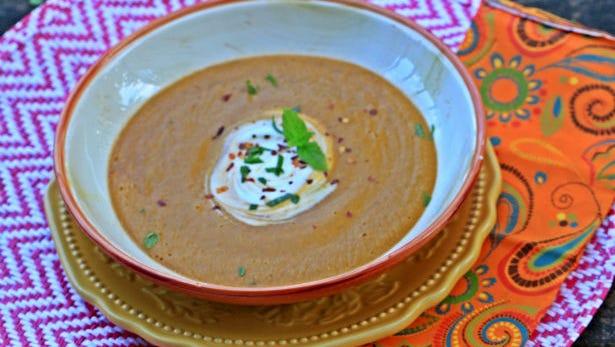 Slow cooker Turkish-inspired red lentil soup.