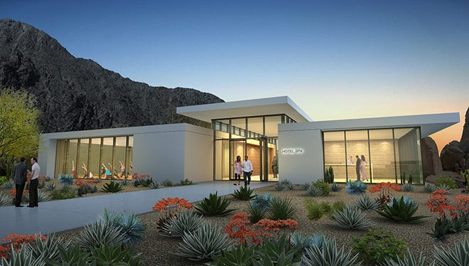 An architectural rendering of the proposed spa center at SilverRock in La Quinta. Two hotels at the location are expected to open by the end of 2020.
