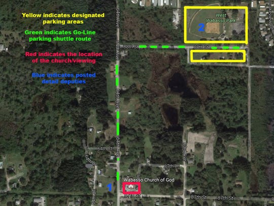 A map shows where people can park and take GoLine buses to the public viewing Friday for slain Indian River County sheriff's Deputy Garry Chambliss.