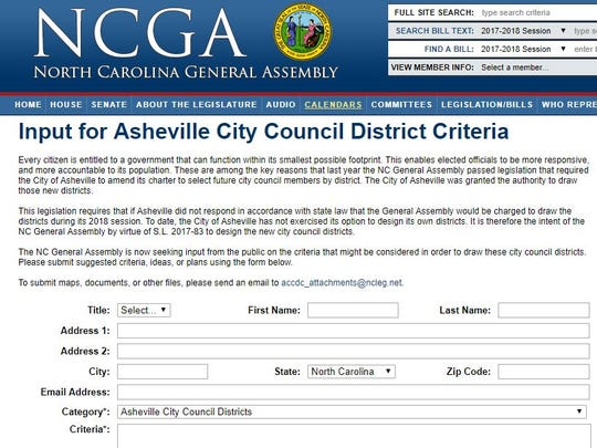 This is a screen shot of the form the state General Assembly is using to solicit public comment on districts for Asheville City Council.