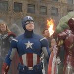 A scene from THE AVENGERS. L to R: Black Widow (Scarlett Johansson), Thor (Chris Hemsworth), Captain America (Chris Evans), Hawkeye (Jeremy Renner), Iron Man (Robert Downey Jr.), and Hulk (Mark Ruffalo). Credit: Marvel/Disney.