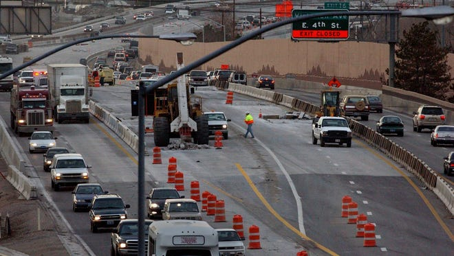 In 2004: Afternoon taffic starts picking up between Rock Boulevard and the Spaghetti Bowl in Reno.