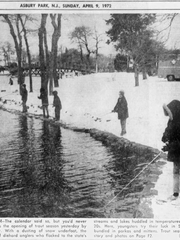 Same as it ever was. Kids fish for trout in snow at