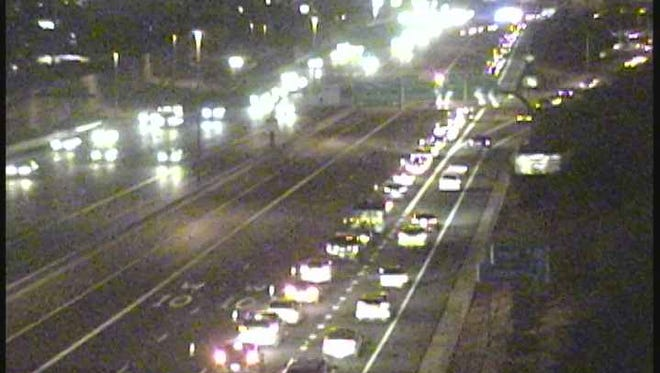 Loop 202 westbound was closed in Phoenix at State Route 51 for a five-vehicle crash.