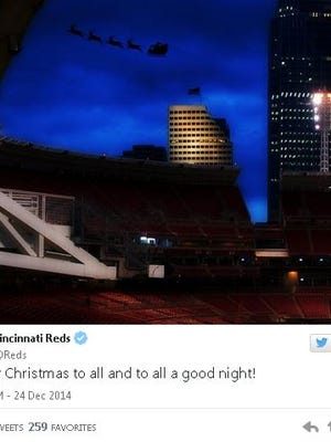 """The Cincinnati Reds' Twitter account, """"@Reds,"""" put the finishing touch on a multi-team Twitter """"reading"""" of a famous holiday poem."""