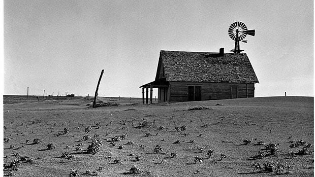 "A farm in the Panhandle of Texas which had been ""dusted out"" during the dustbowl years."