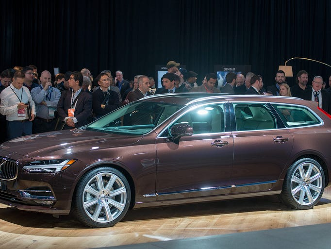 Volvo shows off the V90 wagon at a press conference