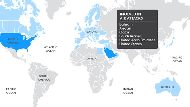 Bahrain, Jordan, Qatar, Saudi Arabia, the United Arab Emirates and the United States were involved in the airstrikes.