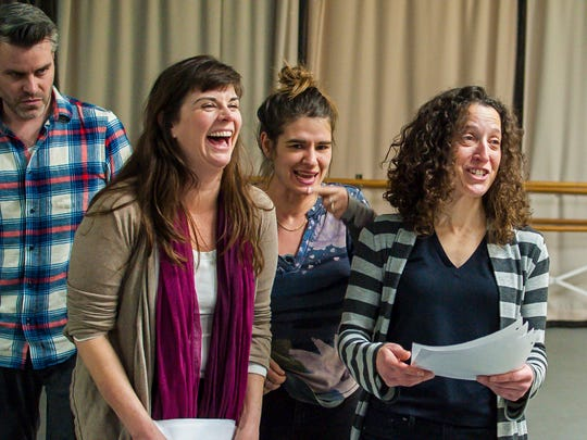 """Jory Raphael, from left, Geeda Searfoorce, Alex Hudson, and Marianne DiMascio rehearse Stealing From Work's production of """"History Retweets Itself"""" in Burlington on Thursday, January 12, 2017."""