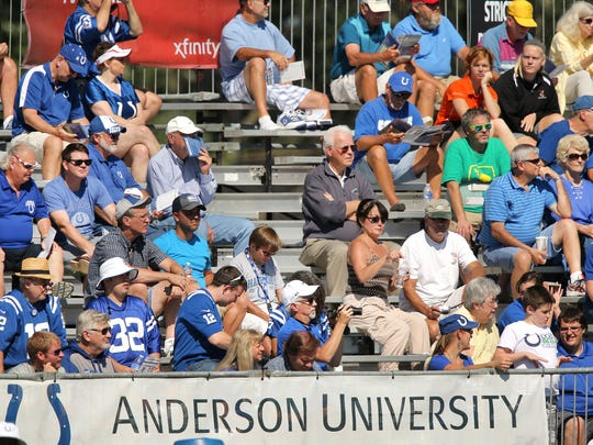 Many Colts fans make the short drive north to Anderson for training camp.