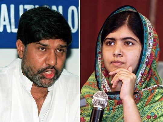 Pakistan's Malala Yousafzai, 17, right, and India's