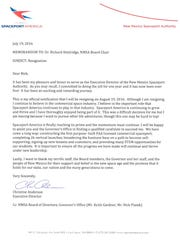 Christine Anderson's letter of resignation from Spaceport