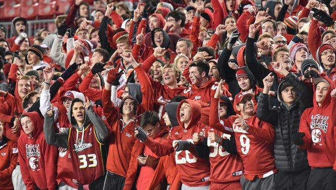 The La Salle students celebrate Thursday night in Columbus.