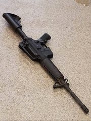A handout photo posted on April 22, 2018 on the Metro Nashville Police Department Twitter account (@MNPDNashville) reportedly shows the rifle used by the gunman at the April 22, 2018 shooting at the Waffle House in Antioch, Tenn. where 4 people were killed and multiple people injured.