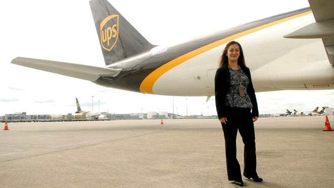 Maintenance Supervisor Lornna Ruble poses in front of a UPS 757 Boeing, the same type of plane that will be used during Thunder Over Louisville. Ruble started out as a mechanic with the company ten years ago and has been a supervisor for the last three.  April 18, 2017