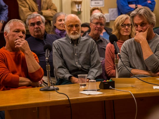 In a weird twist,from left, both Keep Burlington Telecom Local Chairman Alan Matson and Ting CEO Elliot Noss were asked to answer several questions from councilors during the meeting Monday night, Oct. 30, 2017. What was supposed to be a vote of the final Burlington Telecom turned into a debate about whether the council should vote at all after Councilor Karen Paul abruptly recused herself, citing a recently discovered conflict of interest.