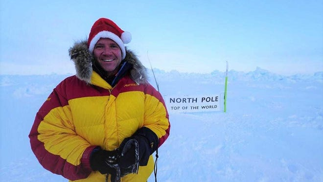 Willard native Sean Swarner wears his Santa hat after reaching the North Pole in 2017. He's the only person to complete the Explorer's Grand Slam and finish the Ironman Triathlon.