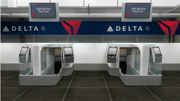 This image provided by Delta shows the new bag-drops