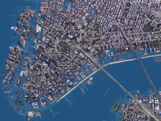A view of what New York City would look like under a worst-case sea-level rise scenario.