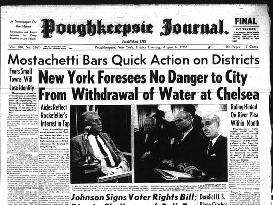 A hearing regarding New York City's request to take 100 million gallons of water from the Hudson River at Chelsea was front-page news in the Poughkeepsie Journal.