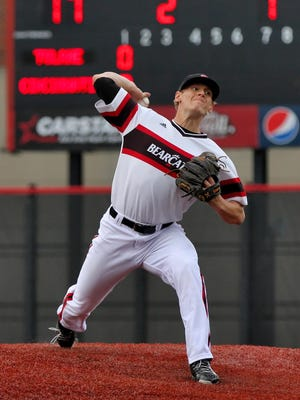 Workhorse hurler Ryan Atkinson, a University of Cincinnati senior, fires one of his 148 pitches against Tulane April 24 at Marge Schott Stadium. The Colerain High School graduate struck out a season-high 9 batters in 7 IP. Though he allowed just 2 earned runs, the Bearcats couldn't score, falling 4-0.