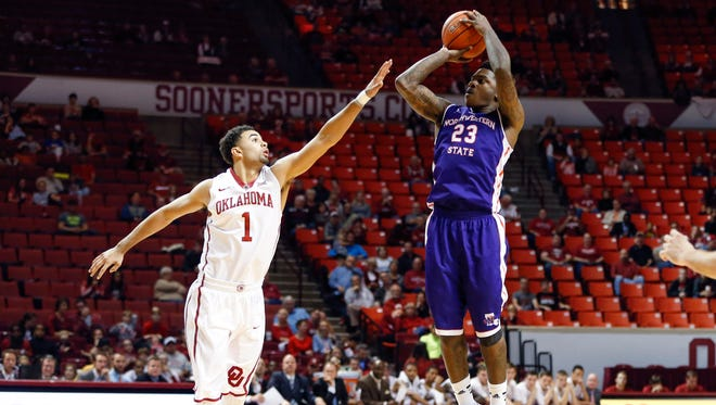 Northwestern State Demons guard Zeek Woodley (23) and the Demons play at Auburn on Friday night.