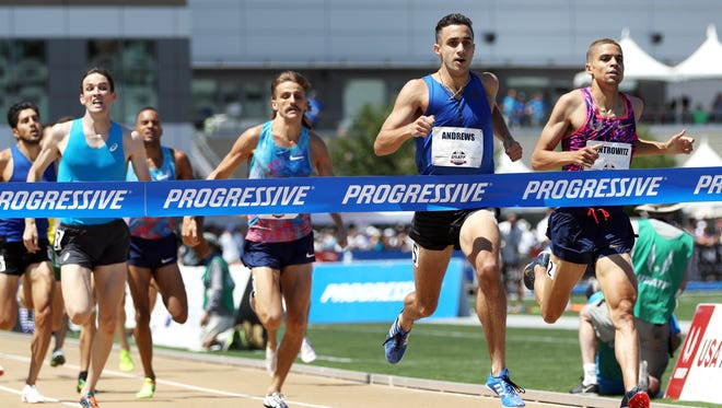 Robby Andrews, second from right, wins the men's 1500 meters ahead of second-place finisher Matthew Centrowitz.