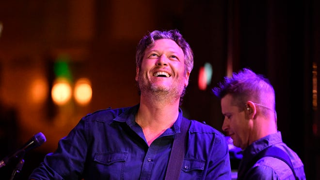 Blake Shelton performs during the grand opening of  Ole Red, his new five-story upscale honky tonk on the corner of Broadway and 3rd Avenue Wednesday June 6, 2018, in Nashville, Tenn.