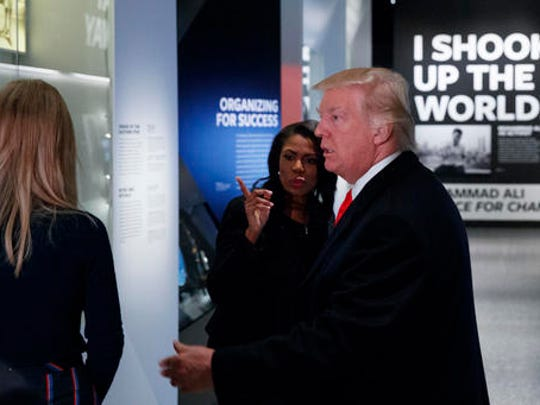 President Donald Trump tours the National Museum of African American History and Culture, Tuesday, Feb. 21, 2017, in Washington.