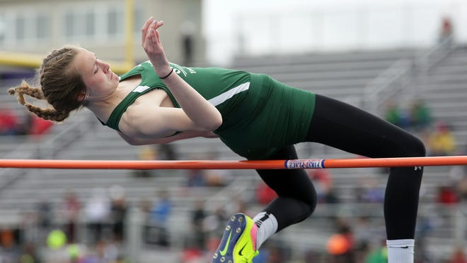 Oak Harbor sophomore Peyton Bloomer finished second in the high jump (5-4) at Lexington to qualify to state in Division II.