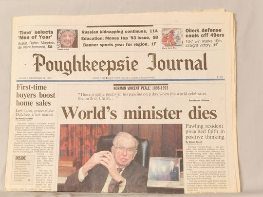 The front page of the Poughkeepsie Journal from December 26, 1993.
