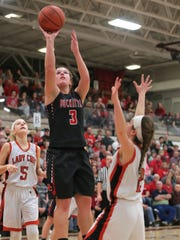 Buckeye Central's Jenna Karl makes a jump shot during