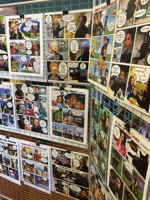 Comic-book pages designed by children with instruction from graphic arts instructor Craig Knitt this spring at the Boys & Girls Club of Green Bay Nagel Youth Center on the city's west side.